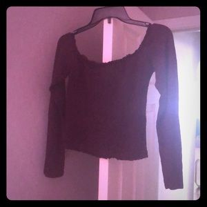 Off the shoulder spandex blouse maroon